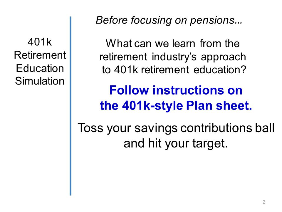 What can we learn from the retirement industrys approach to 401k retirement education? 401k Retirement Education Simulation 2 Follow instructions on t