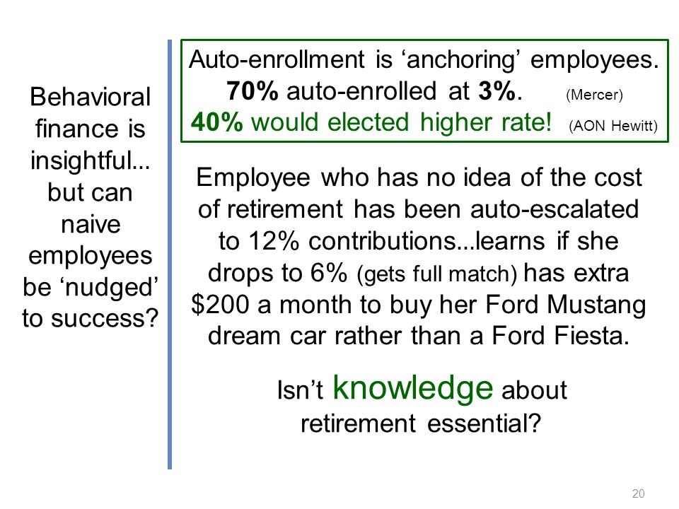 Employee who has no idea of the cost of retirement has been auto-escalated to 12% contributions … learns if she drops to 6% (gets full match) has extra $200 a month to buy her Ford Mustang dream car rather than a Ford Fiesta.