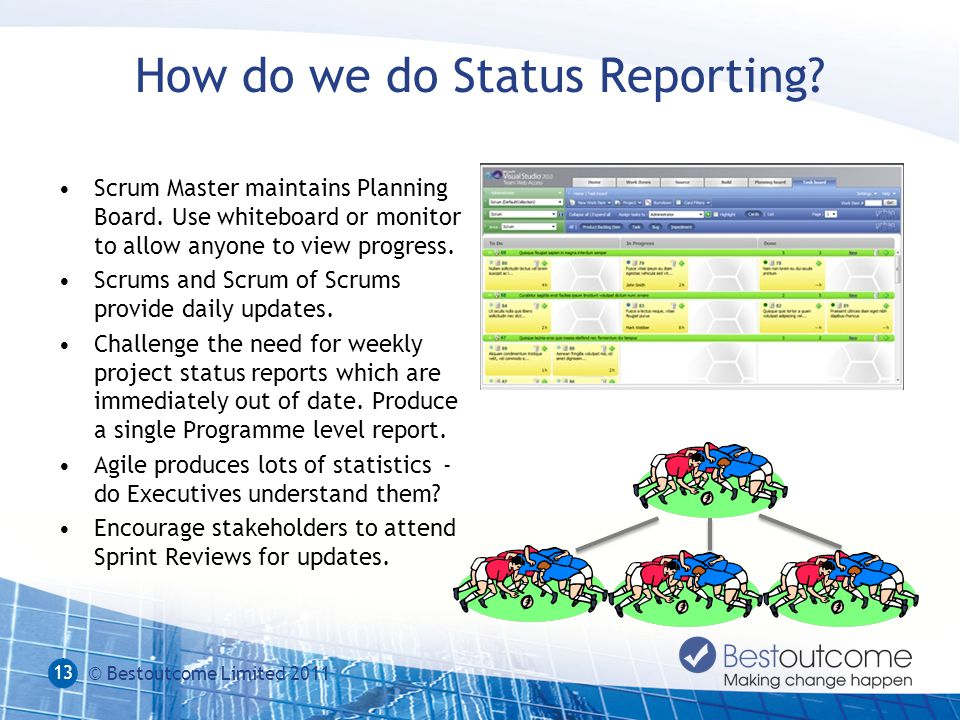 How do we do Status Reporting.Scrum Master maintains Planning Board.
