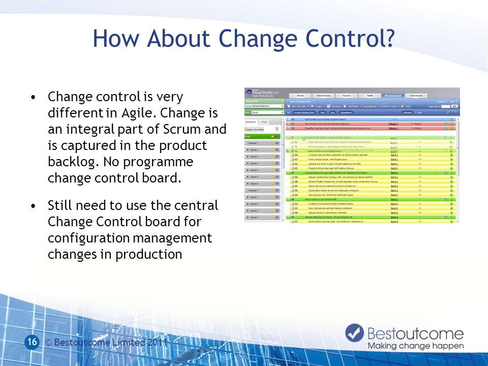 How About Change Control.Change control is very different in Agile.