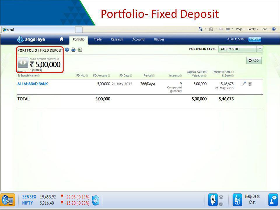 Portfolio- Fixed Deposit