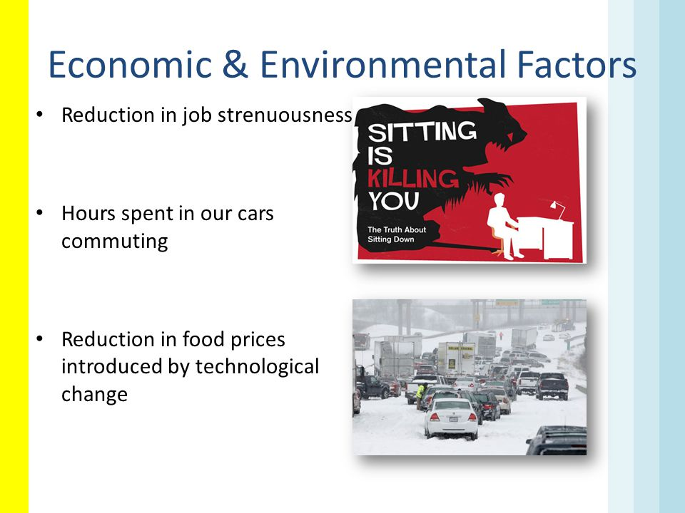 Economic & Environmental Factors Reduction in job strenuousness Hours spent in our cars commuting Reduction in food prices introduced by technological