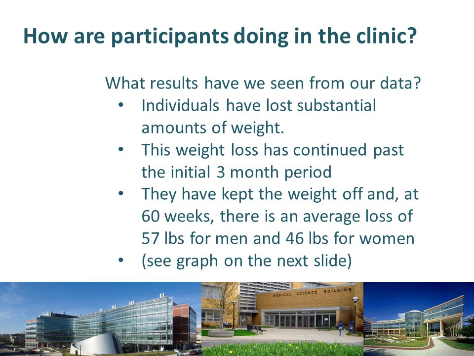 How are participants doing in the clinic? What results have we seen from our data? Individuals have lost substantial amounts of weight. This weight lo