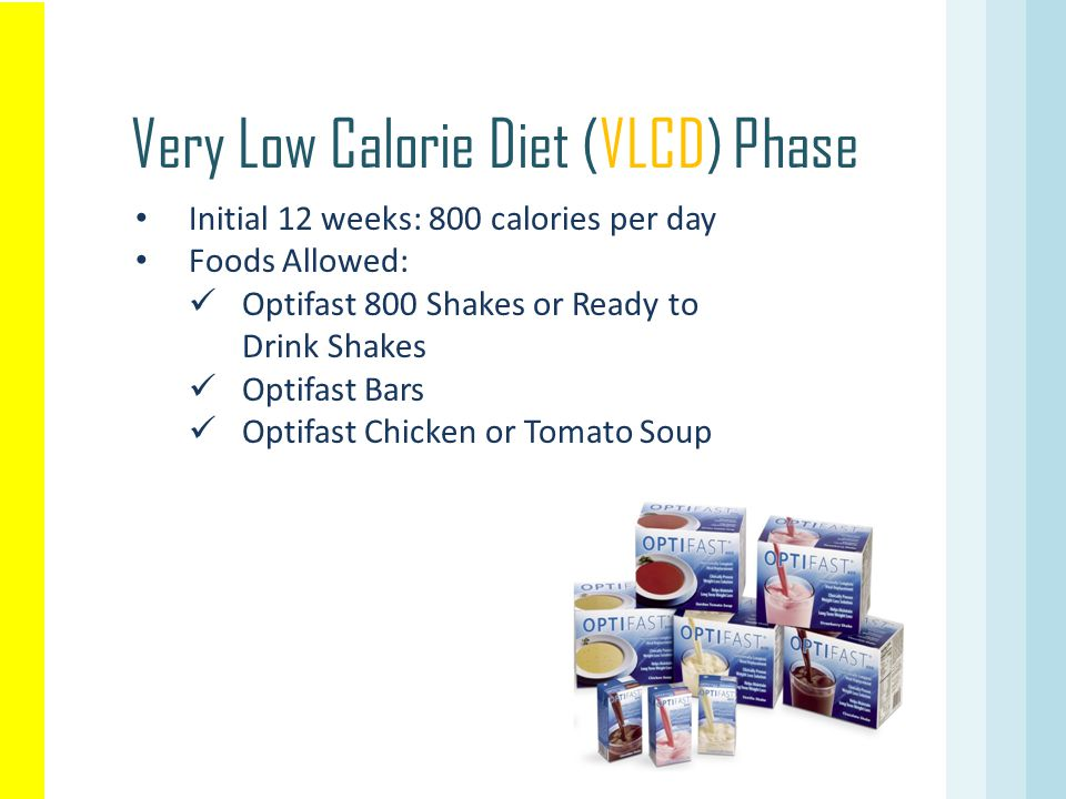 Initial 12 weeks: 800 calories per day Foods Allowed: Optifast 800 Shakes or Ready to Drink Shakes Optifast Bars Optifast Chicken or Tomato Soup Very