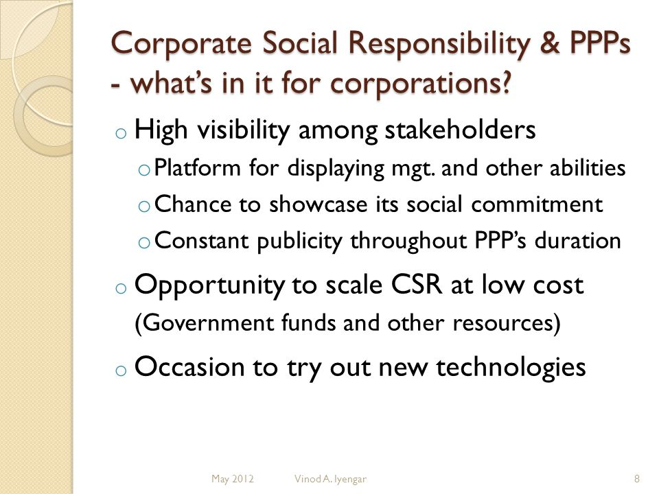 Corporate Social Responsibility & PPPs - whats in it for corporations.