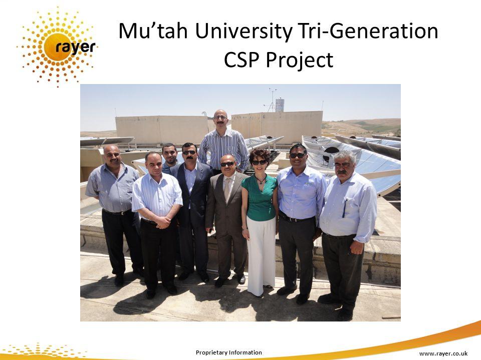 Mutah University Tri-Generation CSP Project www.rayer.co.uk Proprietary Information