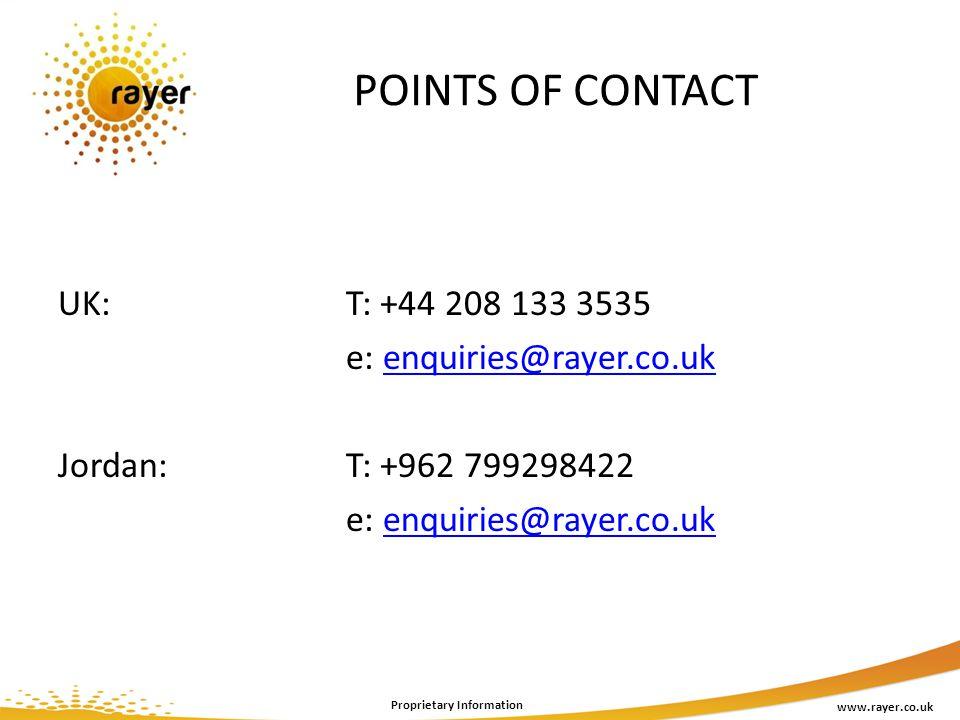 POINTS OF CONTACT www.rayer.co.uk Proprietary Information UK: T: +44 208 133 3535 e: enquiries@rayer.co.ukenquiries@rayer.co.uk Jordan: T: +962 799298