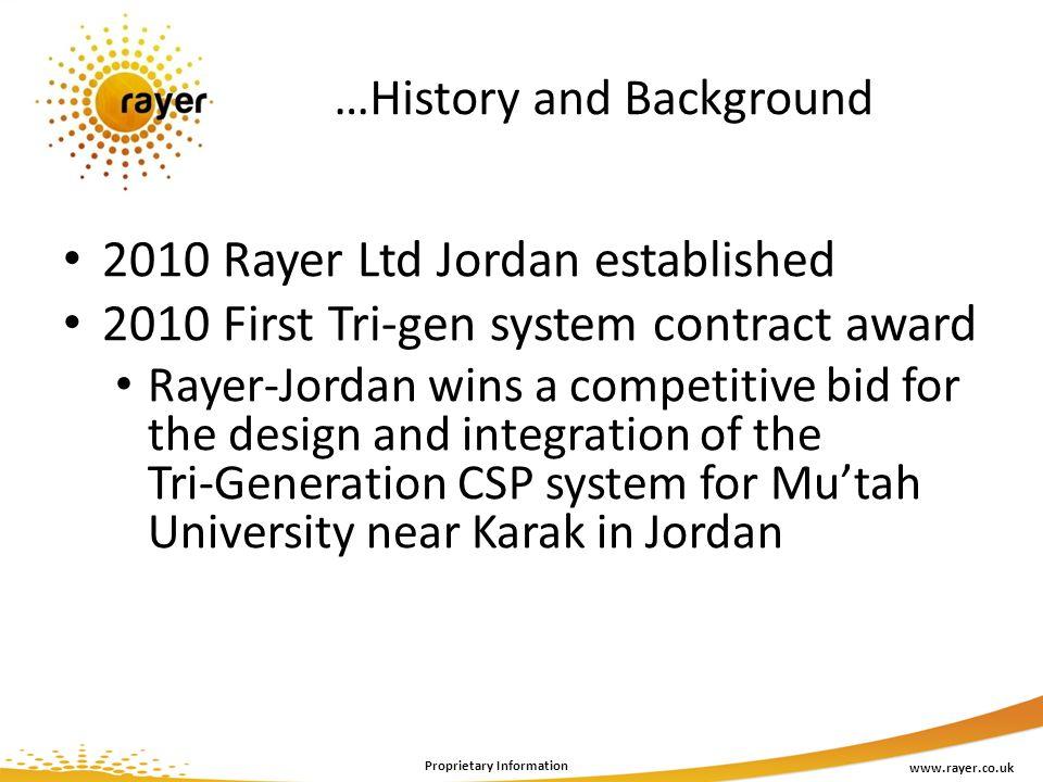 …History and Background www.rayer.co.uk Proprietary Information 2010 Rayer Ltd Jordan established 2010 First Tri-gen system contract award Rayer-Jorda