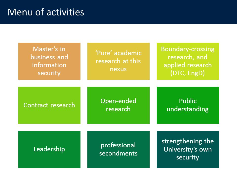 Menu of activities Masters in business and information security Pure academic research at this nexus Boundary-crossing research, and applied research (DTC, EngD) Contract research Open-ended research Public understanding Leadership professional secondments strengthening the Universitys own security