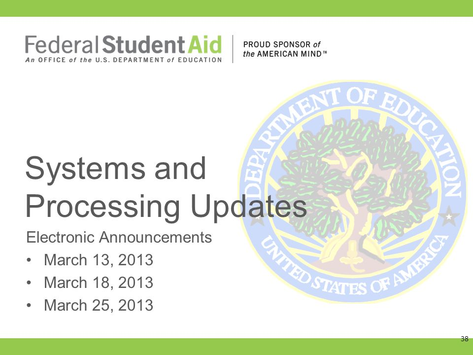 Electronic Announcements March 13, 2013 March 18, 2013 March 25, 2013 Systems and Processing Updates 38