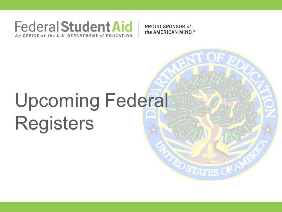 Upcoming Federal Registers