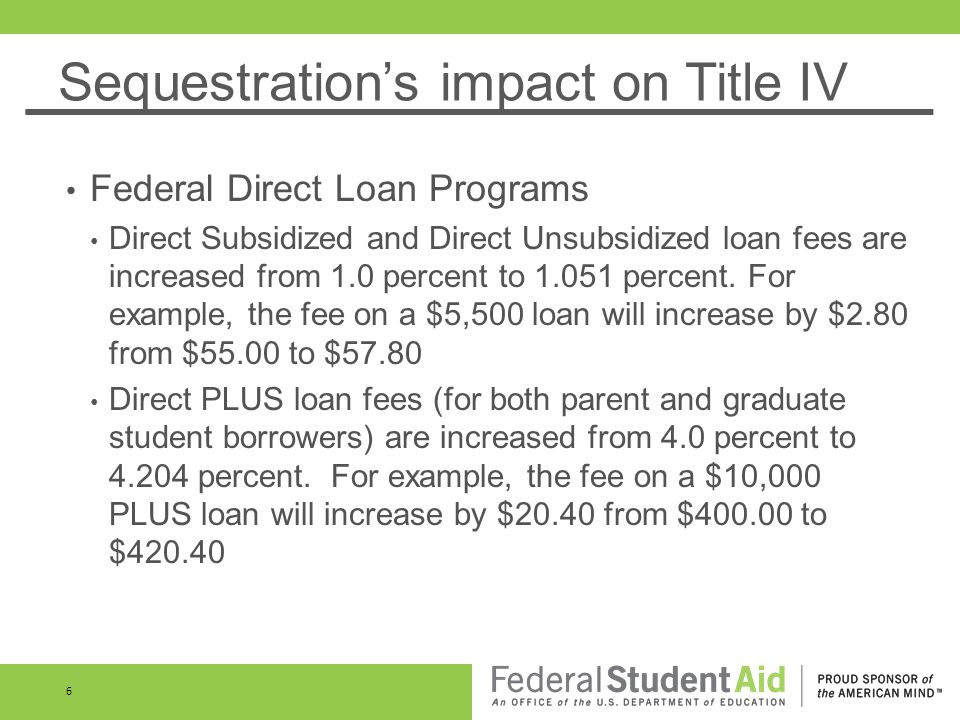 Sequestrations impact on Title IV Federal Direct Loan Programs Direct Subsidized and Direct Unsubsidized loan fees are increased from 1.0 percent to 1