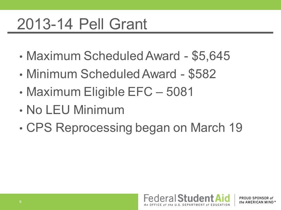 2013-14 Pell Grant Maximum Scheduled Award - $5,645 Minimum Scheduled Award - $582 Maximum Eligible EFC – 5081 No LEU Minimum CPS Reprocessing began o