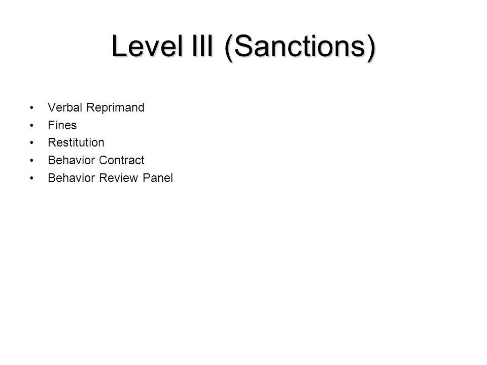 Level III (Sanctions) Verbal Reprimand Fines Restitution Behavior Contract Behavior Review Panel
