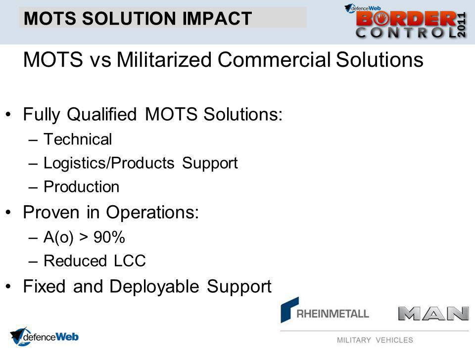 MOTS SOLUTION IMPACT Fully Qualified MOTS Solutions: –Technical –Logistics/Products Support –Production Proven in Operations: –A(o) > 90% –Reduced LCC Fixed and Deployable Support MOTS vs Militarized Commercial Solutions