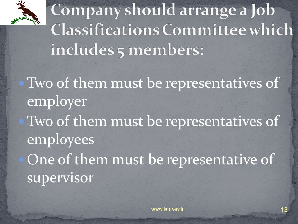 Two of them must be representatives of employer Two of them must be representatives of employees One of them must be representative of supervisor 13 w