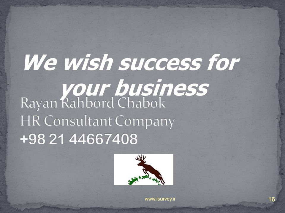 16 We wish success for your business
