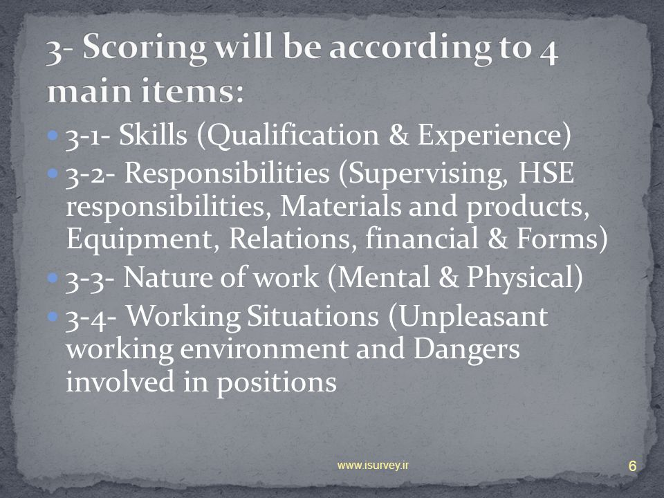 3-1- Skills (Qualification & Experience) 3-2- Responsibilities (Supervising, HSE responsibilities, Materials and products, Equipment, Relations, finan