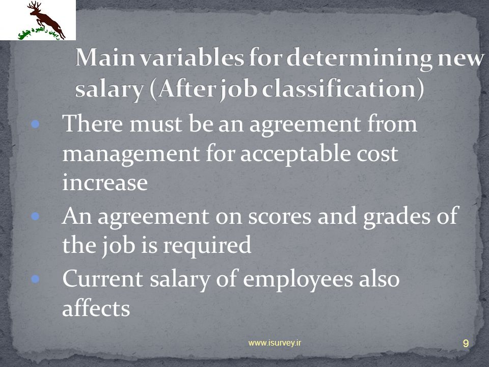 There must be an agreement from management for acceptable cost increase An agreement on scores and grades of the job is required Current salary of emp