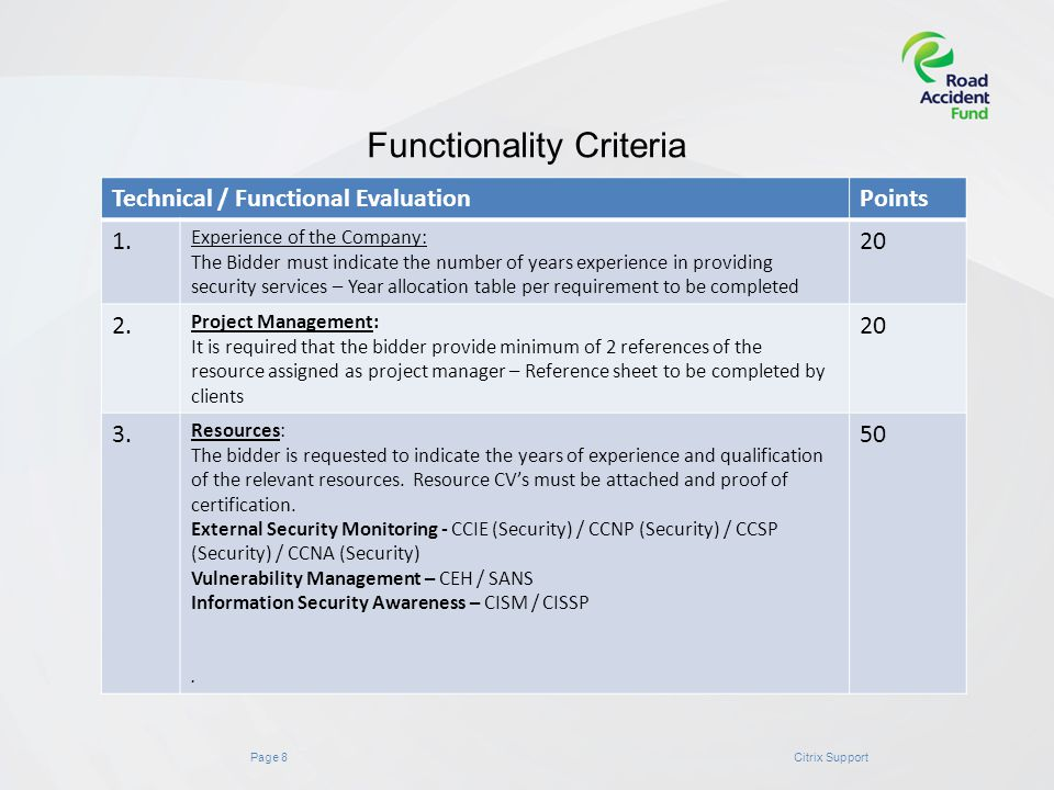 Page 8Citrix Support Functionality Criteria Technical / Functional EvaluationPoints 1.