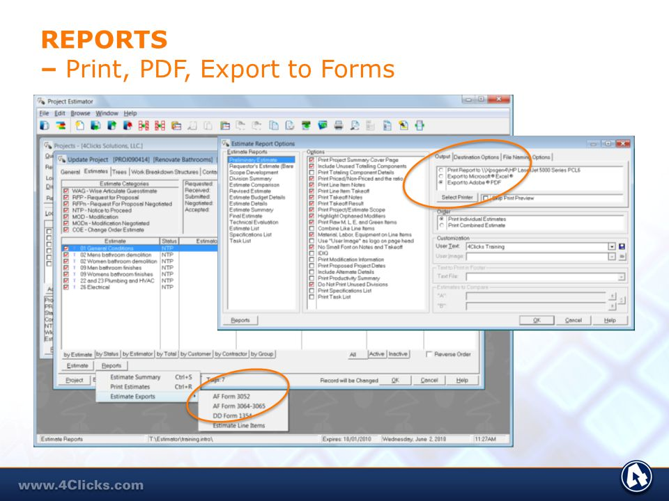 REPORTS – Print, PDF, Export to Forms