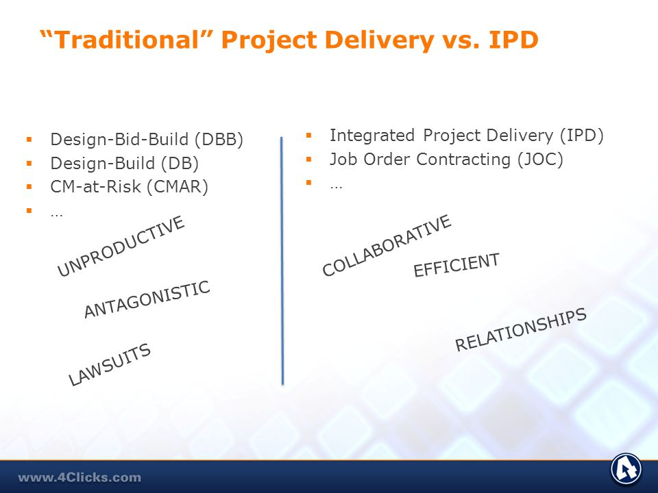 Traditional Project Delivery vs. IPD Design-Bid-Build (DBB) Design-Build (DB) CM-at-Risk (CMAR) … Integrated Project Delivery (IPD) Job Order Contract