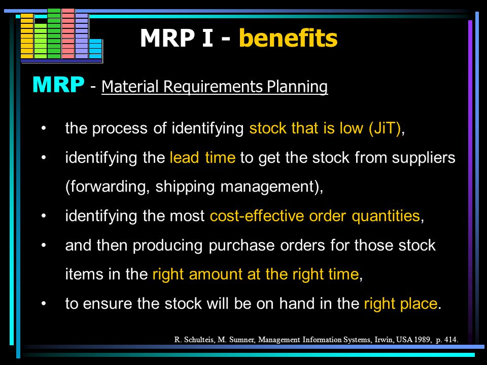 To ensure that proper amount of the right materials are avaialable for the production process at the right time.