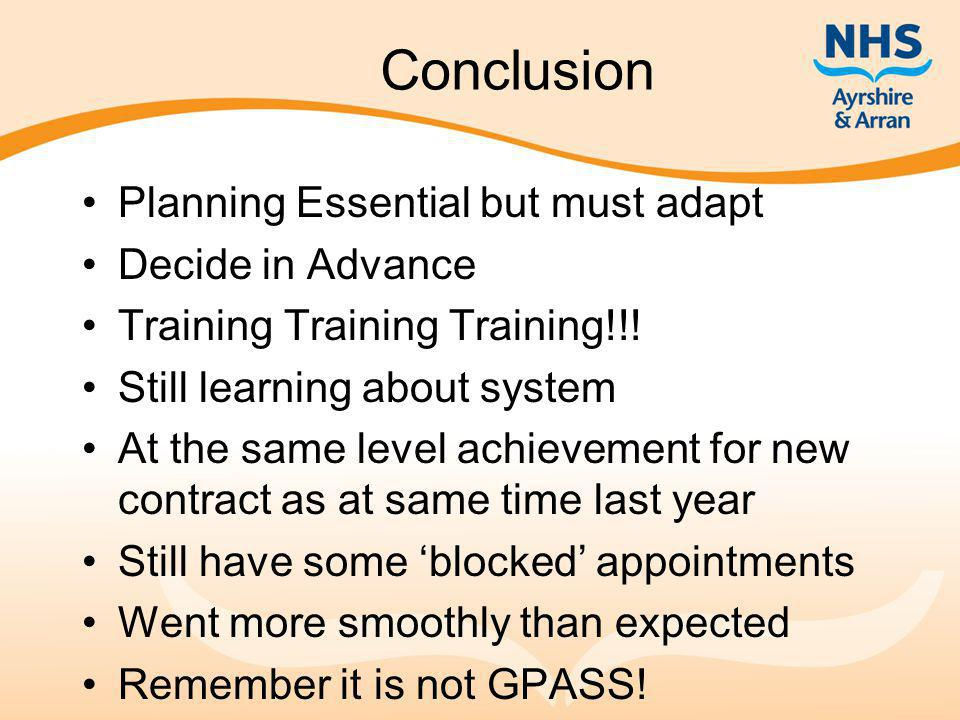 Conclusion Planning Essential but must adapt Decide in Advance Training Training Training!!.