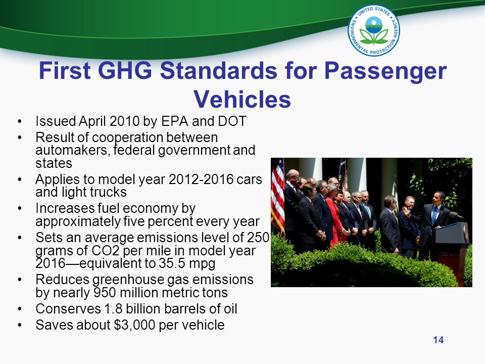First GHG Standards for Passenger Vehicles Issued April 2010 by EPA and DOT Result of cooperation between automakers, federal government and states Ap