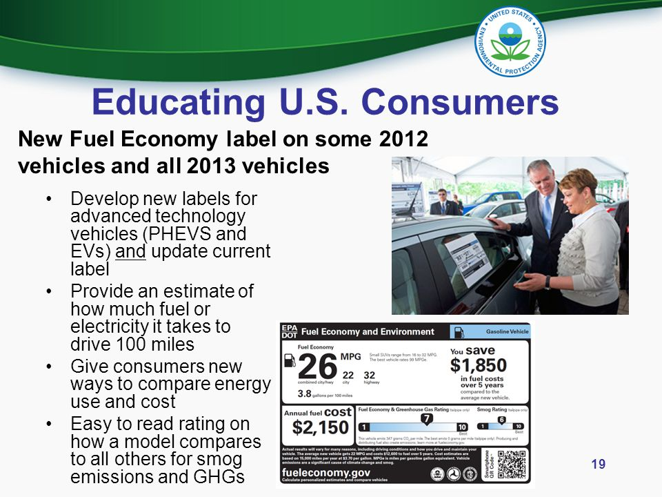 Educating U.S. Consumers Develop new labels for advanced technology vehicles (PHEVS and EVs) and update current label Provide an estimate of how much