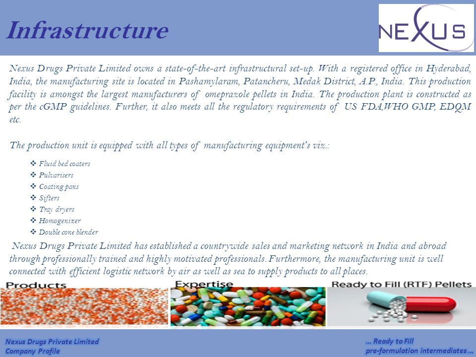 Infrastructure Nexus Drugs Private Limited owns a state-of-the-art infrastructural set-up. With a registered office in Hyderabad, India, the manufactu