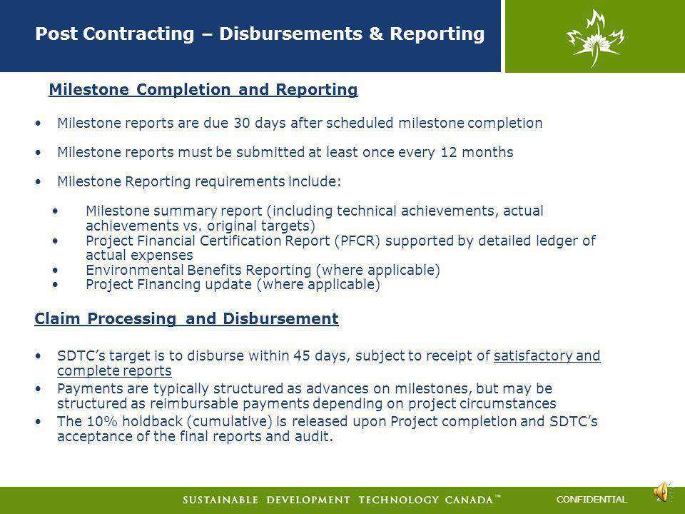 CONFIDENTIAL Contracting Process Schedules where no input is needed Schedule E - (no input needed by the ER) This schedule outlines the reporting requ