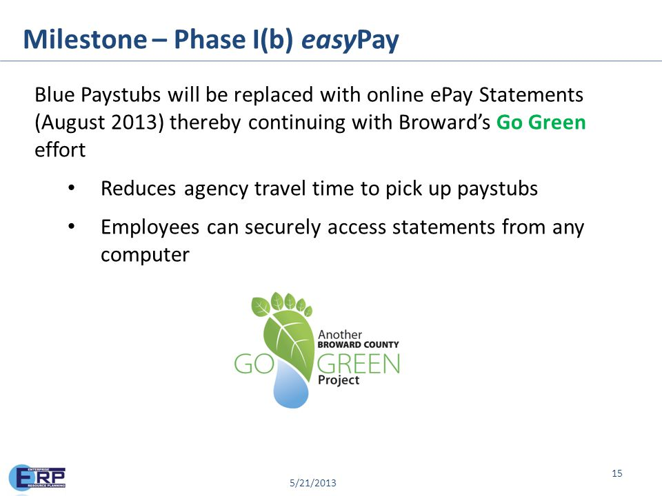 © 2013 PKING Consulting, Inc. | PACERS CM&T® & Broward County Milestone – Phase I(b) easyPay 15 Blue Paystubs will be replaced with online ePay Statem