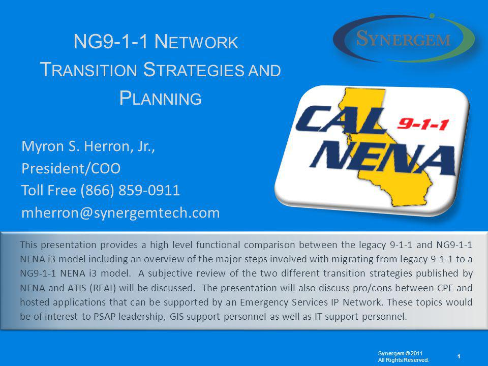 This presentation provides a high level functional comparison between the legacy 9-1-1 and NG9-1-1 NENA i3 model including an overview of the major steps involved with migrating from legacy 9-1-1 to a NG9-1-1 NENA i3 model.