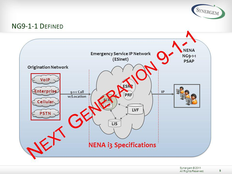 N EXT G ENERATION D EFINED The term Next Generation refers to a system comprised of hardware, software, databases, and operational policies and procedures that: A.Utilize managed, broadband IP networking B.Interconnects call and data sources, processing elements, databases, and public safety answering points and other emergency entities C.Employ GIS data, and other control databases, to manage routing and transfer of calls and data D.Process all types of emergency calls, including voice, data, and multimedia information for delivery to emergency entities E.Support communications needs for coordinated incident response and management F.Require emergency services grade network availability and security 7 Synergem © 2011 All Rights Reserved.