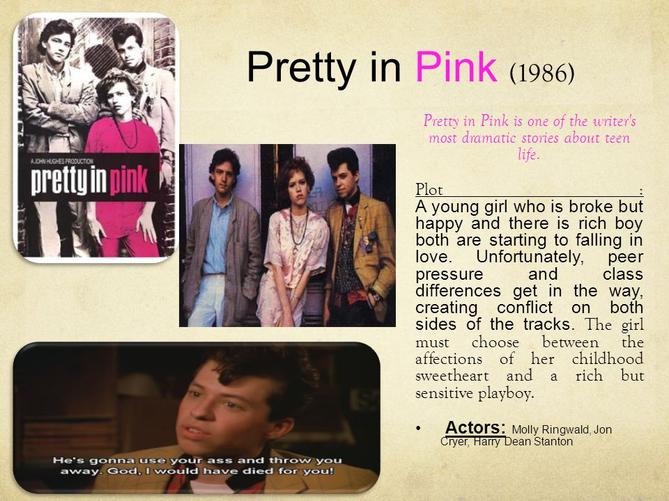 Pretty in Pink (1986) Pretty in Pink is one of the writer s most dramatic stories about teen life.