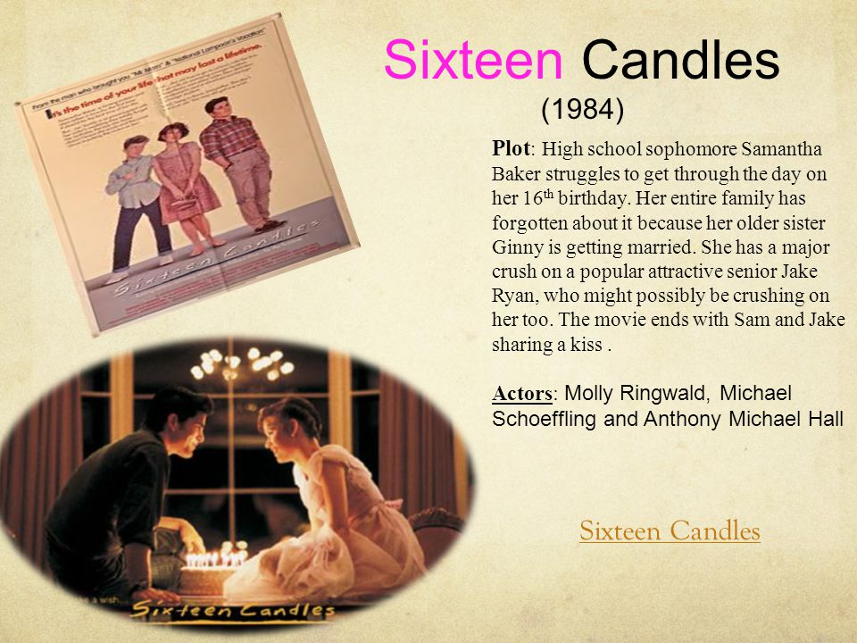 Sixteen Candles (1984) Plot : High school sophomore Samantha Baker struggles to get through the day on her 16 th birthday.