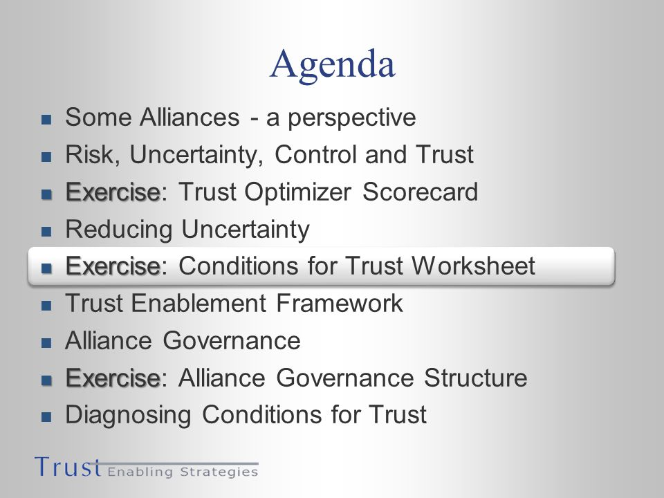 Agenda Some Alliances - a perspective Risk, Uncertainty, Control and Trust Exercise Exercise: Trust Optimizer Scorecard Reducing Uncertainty Exercise Exercise: Conditions for Trust Worksheet Trust Enablement Framework Alliance Governance Exercise Exercise: Alliance Governance Structure Diagnosing Conditions for Trust