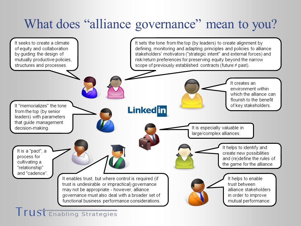 What does alliance governance mean to you.