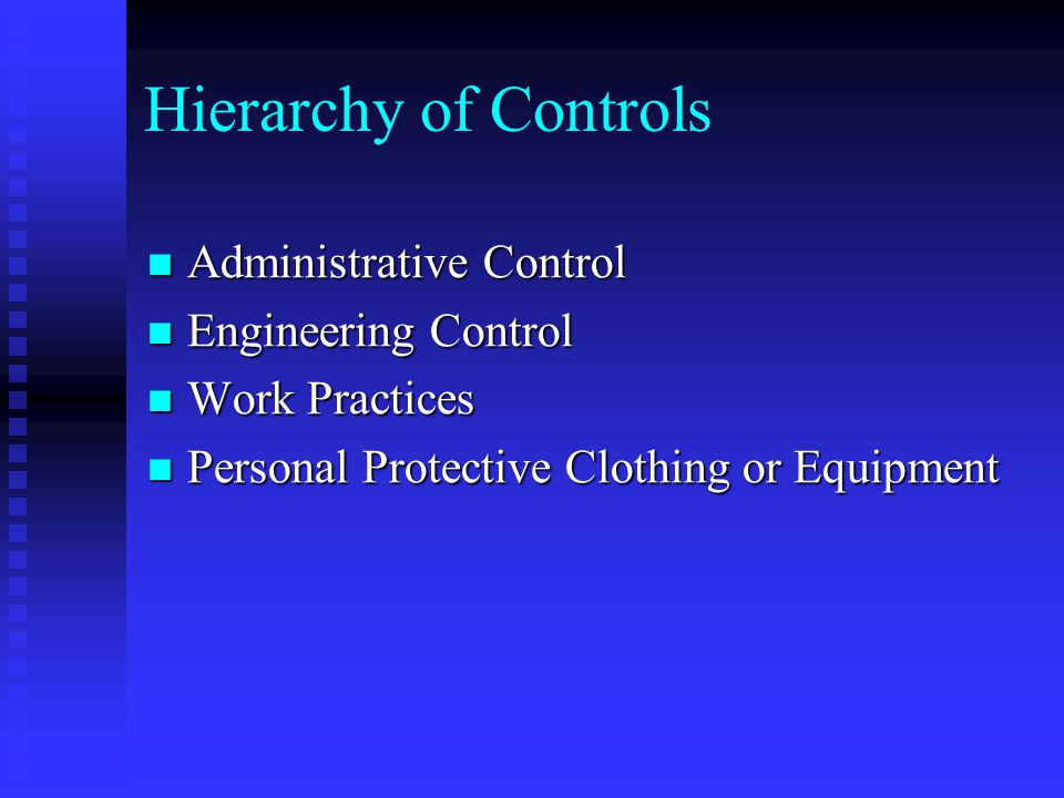 Hierarchy of Controls Administrative Control Administrative Control Engineering Control Engineering Control Work Practices Work Practices Personal Protective Clothing or Equipment Personal Protective Clothing or Equipment