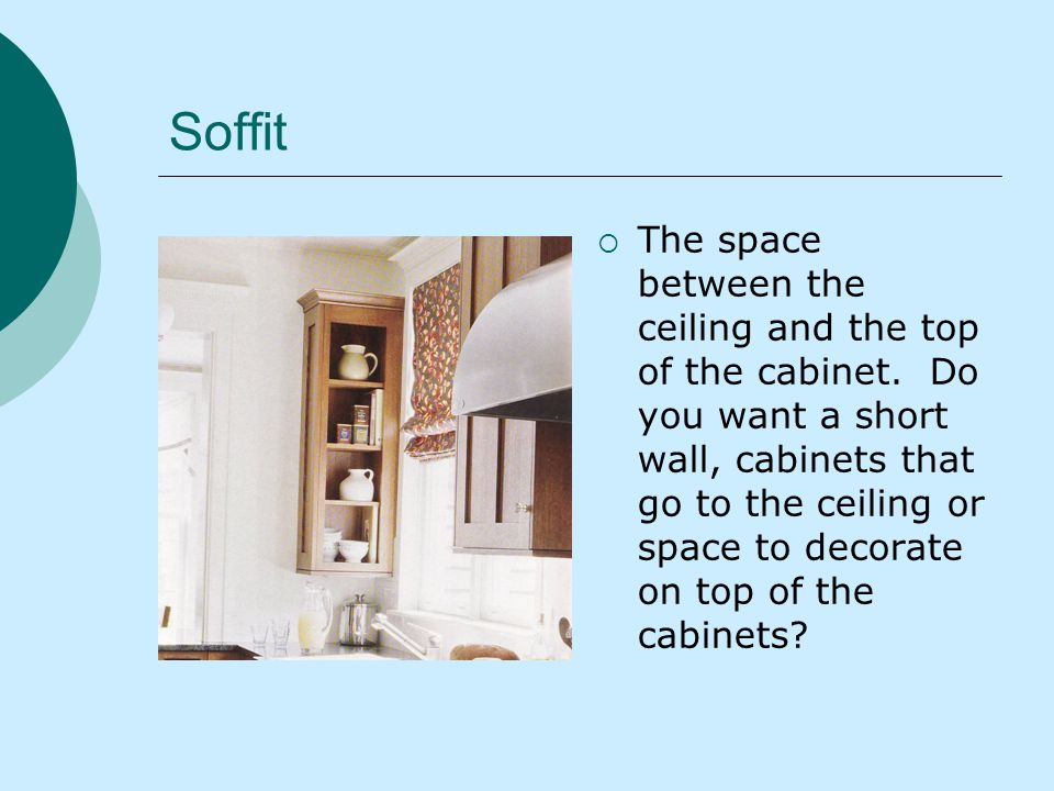 Soffit The space between the ceiling and the top of the cabinet.