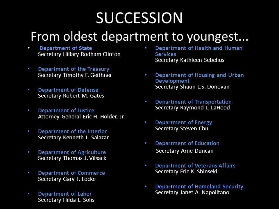 SUCCESSION From oldest department to youngest...