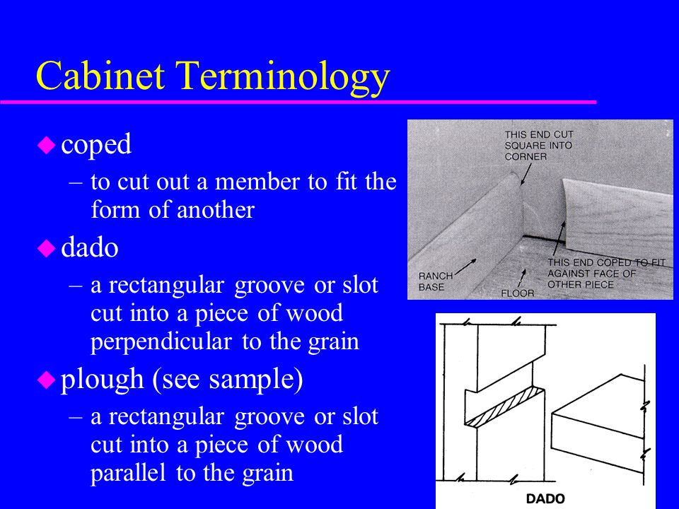 Cabinet Terminology u coped –to cut out a member to fit the form of another u dado –a rectangular groove or slot cut into a piece of wood perpendicular to the grain u plough (see sample) –a rectangular groove or slot cut into a piece of wood parallel to the grain