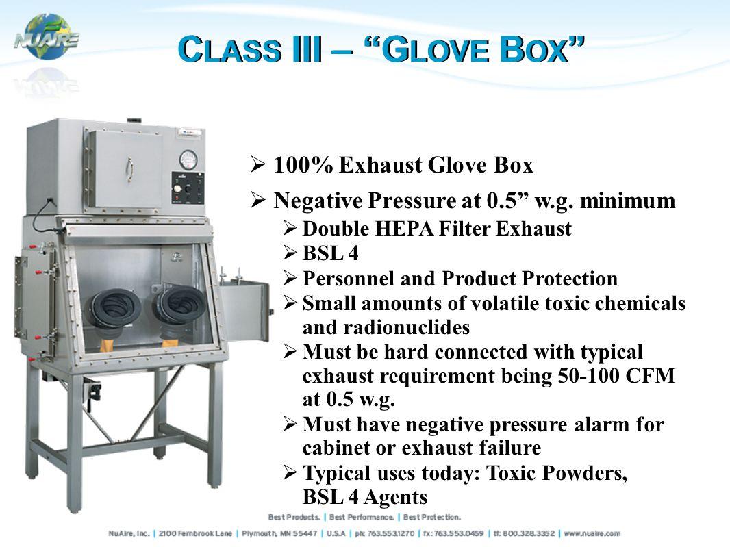 C LASS III – G LOVE B OX 100% Exhaust Glove Box Negative Pressure at 0.5 w.g.