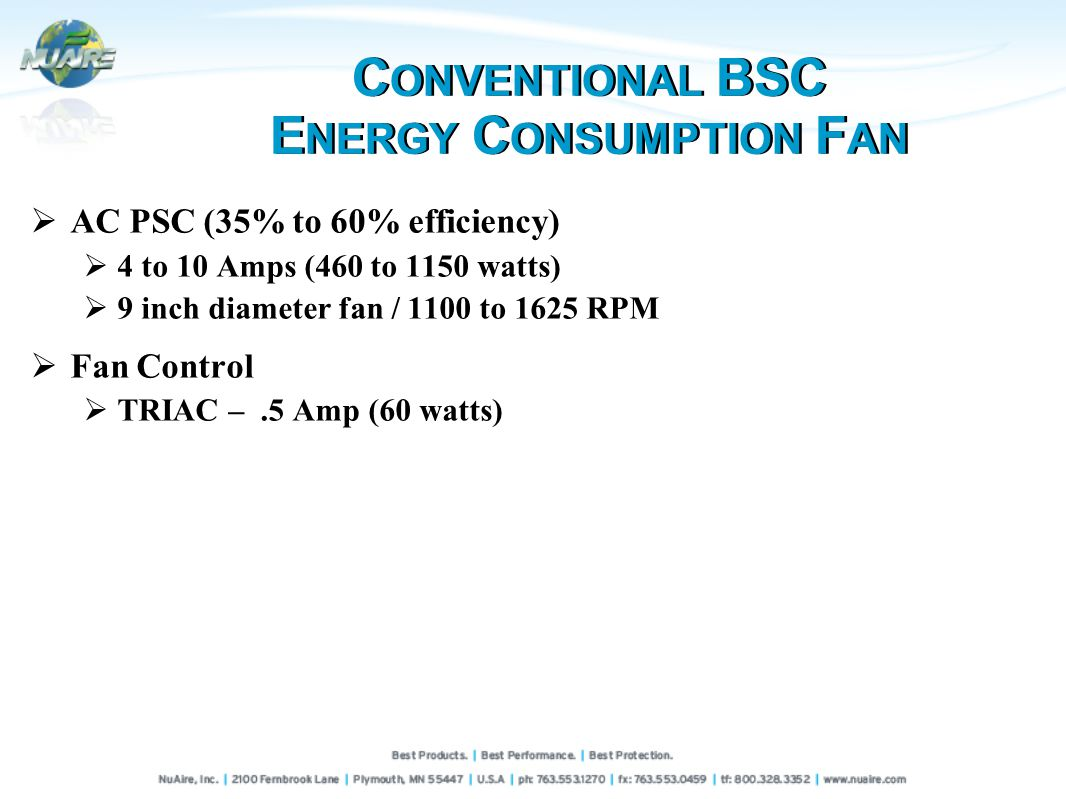 AC PSC (35% to 60% efficiency) 4 to 10 Amps (460 to 1150 watts) 9 inch diameter fan / 1100 to 1625 RPM Fan Control TRIAC –.5 Amp (60 watts) C ONVENTIONAL BSC E NERGY C ONSUMPTION F AN