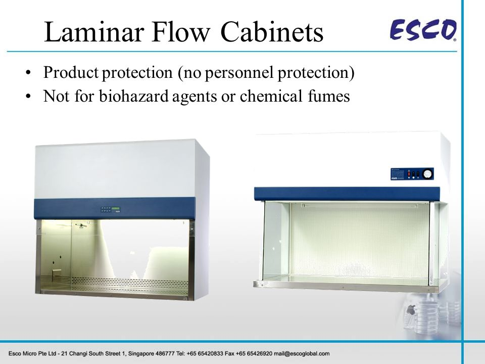 Class I BSC: Personnel and Environment Protection Class II & III BSC: Personnel, Product and Environment Protection HEPA filters (not for chemical vapours) Biosafety Cabinets