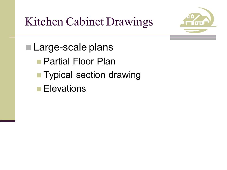 Kitchen Cabinet Drawings Kitchen Floor Plan Layouts Based on manufactured cabinet sizes Greater detail than Floor Plan Interior elevation identifiers Page references for large-scale drawings Modular cabinet components and dimensions