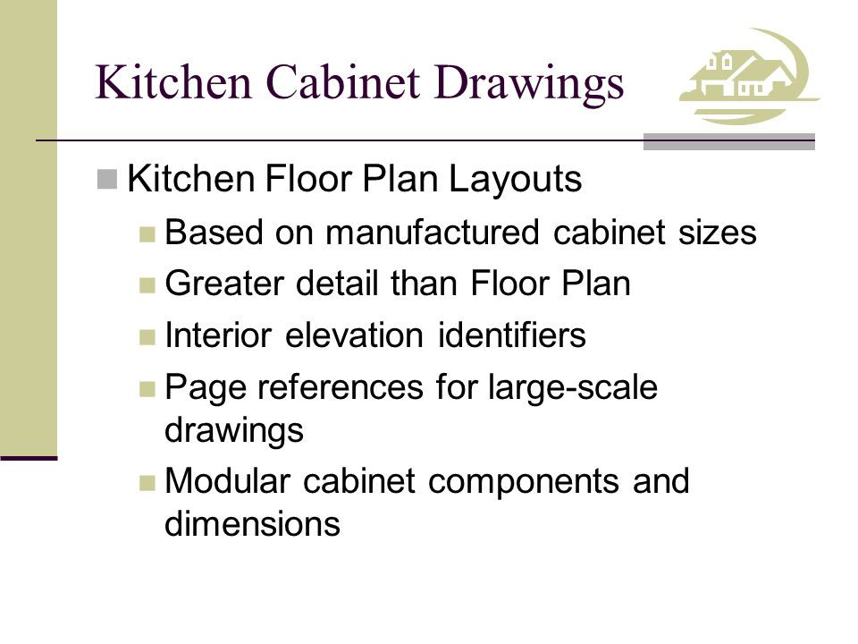Kitchen Cabinet Drawings Kitchen Floor Plan Layouts Based on manufactured cabinet sizes Greater detail than Floor Plan Interior elevation identifiers