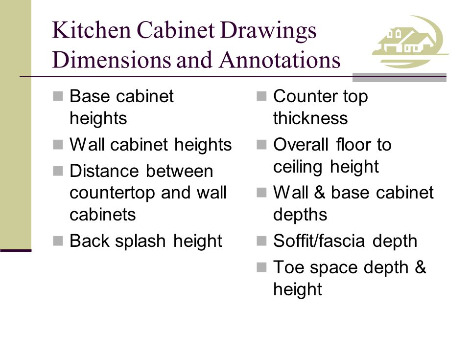 Kitchen Cabinet Drawings Dimensions and Annotations Base cabinet heights Wall cabinet heights Distance between countertop and wall cabinets Back splas