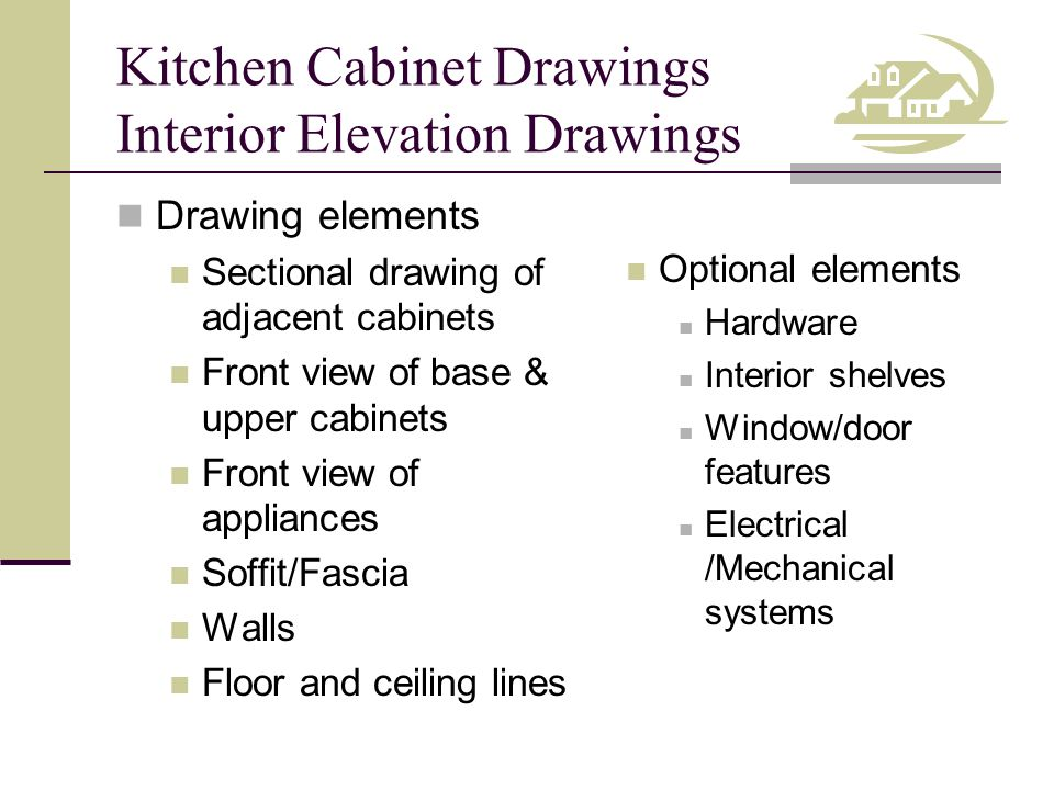Kitchen Cabinet Drawings Interior Elevations Dimensions & Annotations Base unit widths Wall unit widths Overall width of cabinets Overall width of room Vertical distances Materials & Finishes Walls Ceilings Counter tops Back splashes Cabinets Drawings identified with descriptive titles and drawing scale